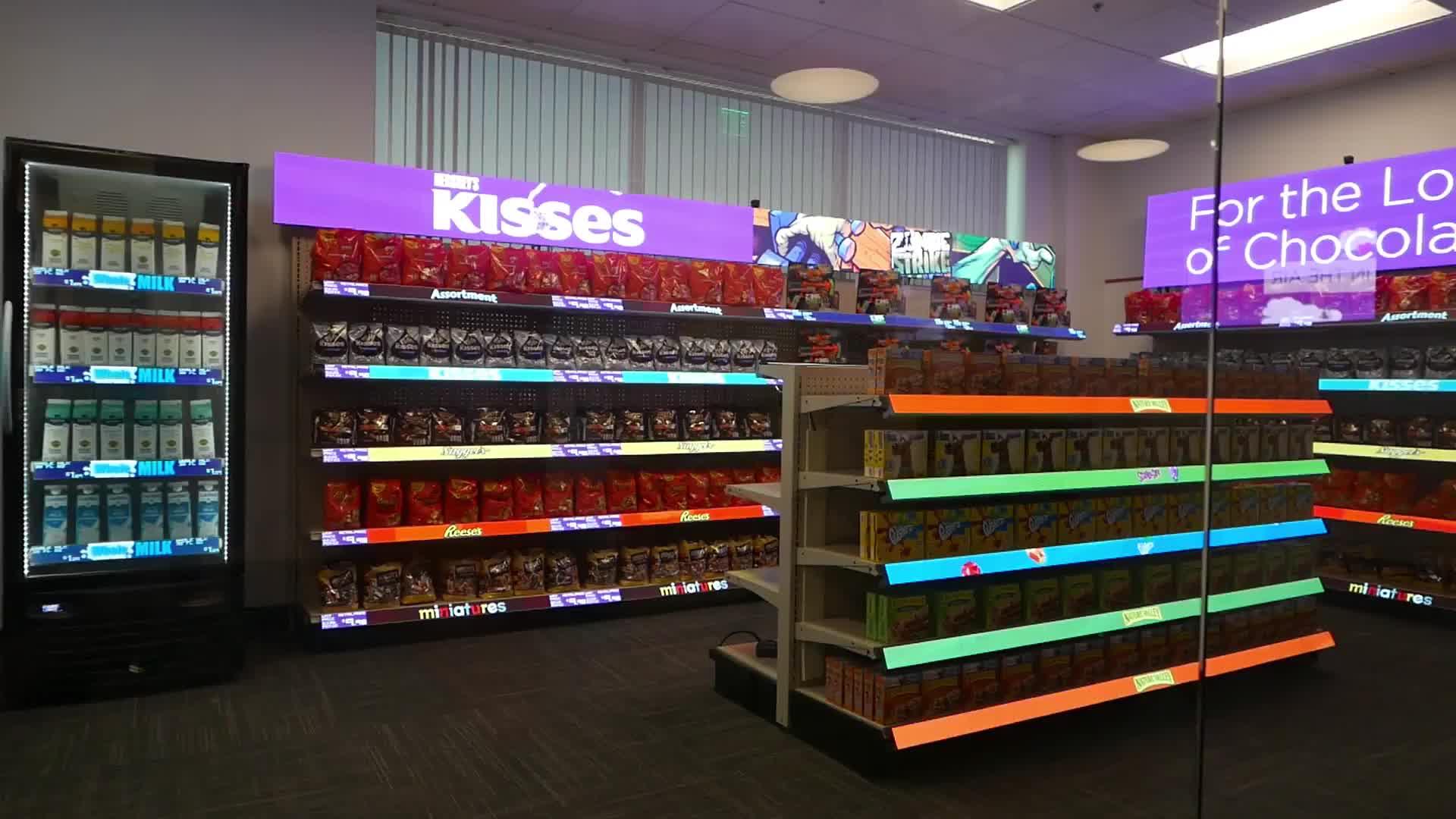 Süpermarket perakende mağaza dijital reklam kapalı P1.5625 akıllı raf led ekran