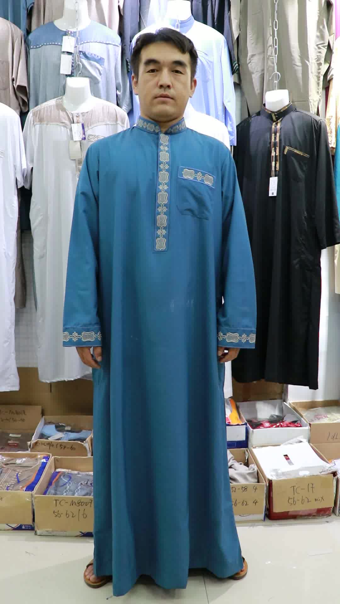 New Arrival Fashion Muslim Men's Embroidered Kurta Long Sleeve New Style Dubai Thobe For Men
