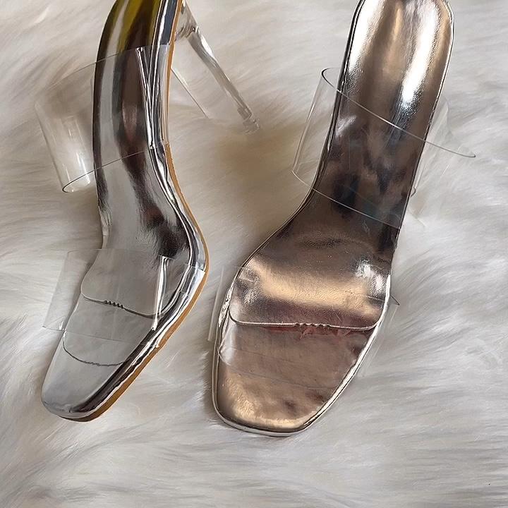 מכירה לוהטת שקוף ג 'לי נעליים עקב גבוהה חדש אופנה גבירותיי סנדלי