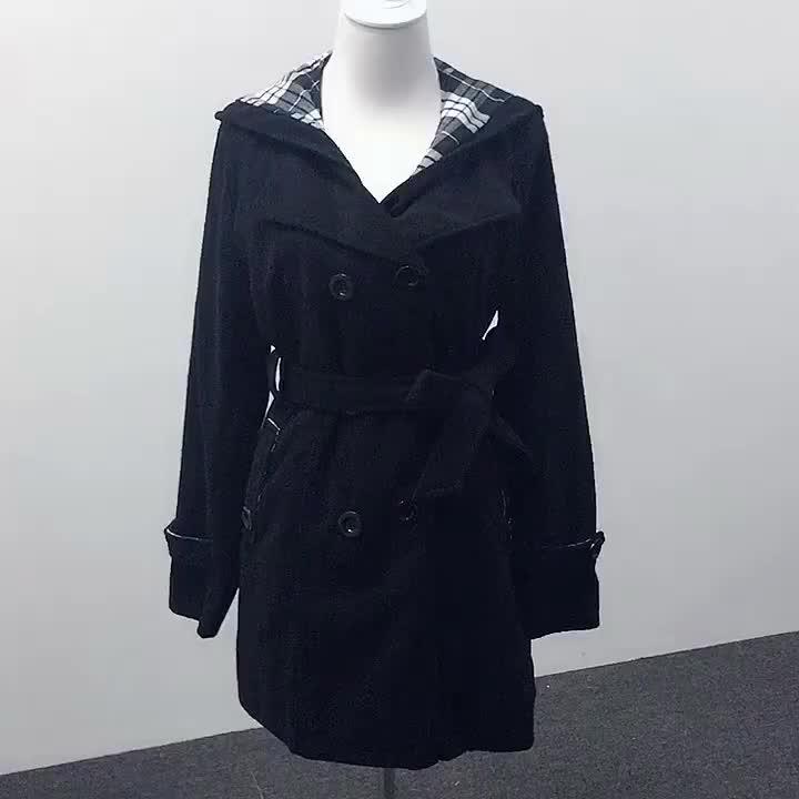 2016 nouvelle mode veste longue avec poche et chapeau hiver femme trench drapey manteau