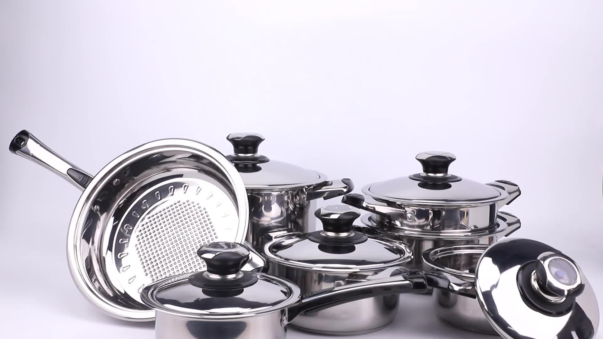 Terbaru Promosi Memasak Pot Set Peralatan Masak 12 Pcs Stainless Steel Peralatan Masak Set dengan Thermometer Tombol