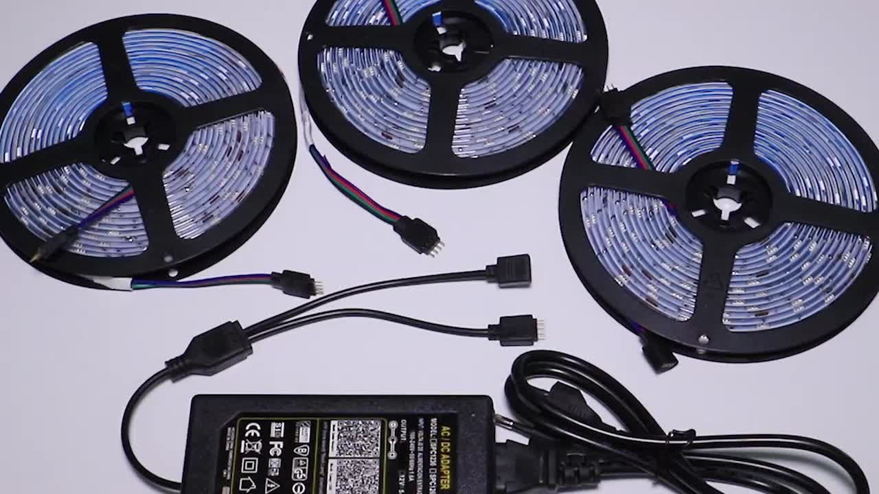 High quality 5M IP20 color changer 5050 rgb led strip light kit with  24key remote control