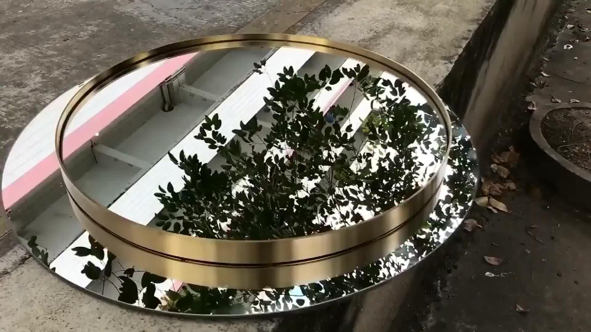Оптовая продажа золотой ванной большой круглый зеркало стены