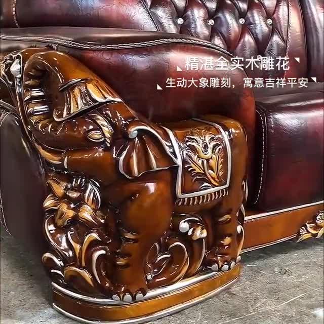 Дизайн интерьера Роскошный старинный королевский деревянный резной барокко кожаный диван