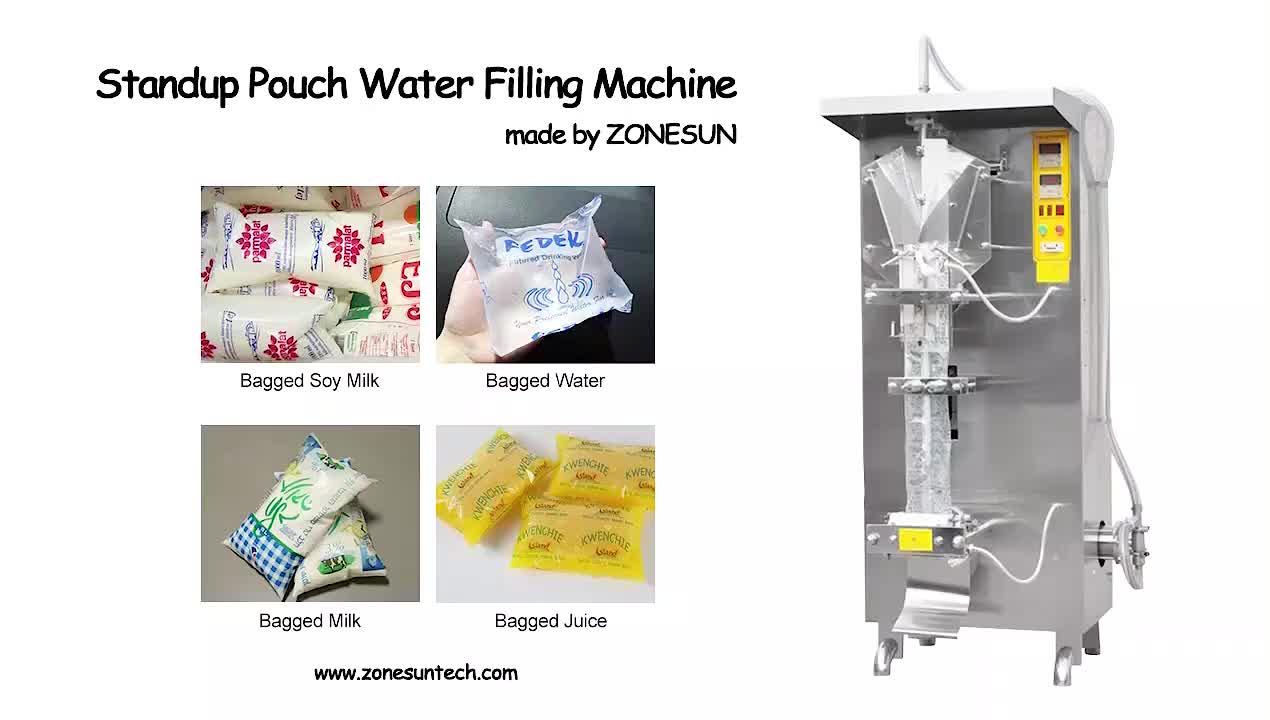 ZONESUN ZS-GJH1000 Automatic Liquid Plastic Bean Milk Sauce Bag Pure Water Sachet Milk Water Juice Filling Sealing Machine