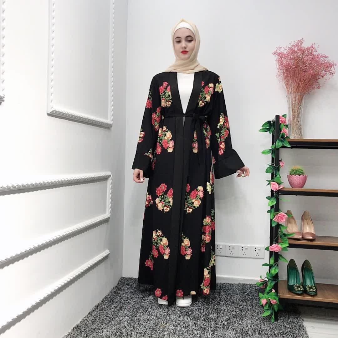2019 new style floral print women kimono abaya robe muslim cardigan in stock