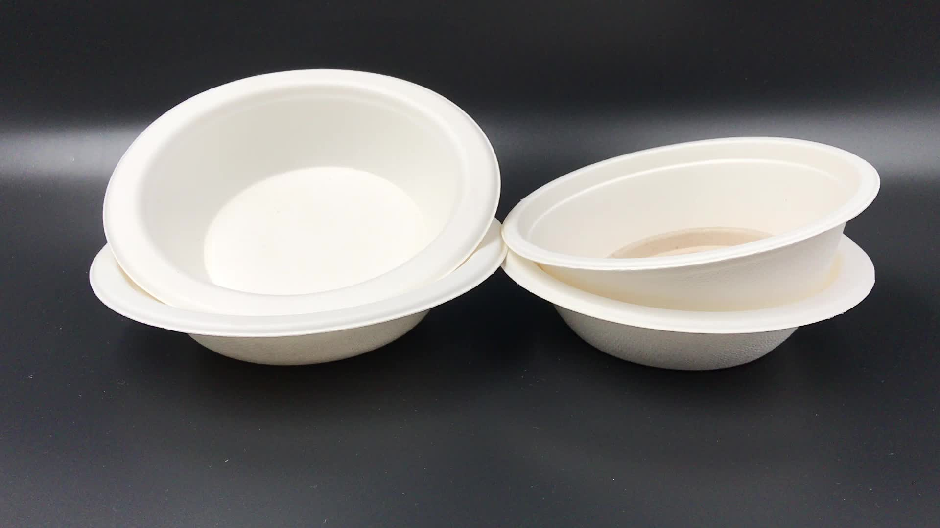 Wholesale compostable tableware eco food bowl disposable biodegradable sugarcane bagasse pulp bowl for hot food