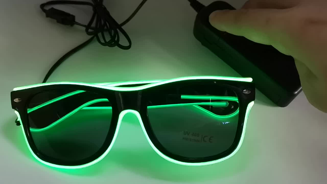 Clear Lens Flashing EL Wire Led Glasses Luminous Party Decorative Lighting gift classic Light Up Party SunGlasses