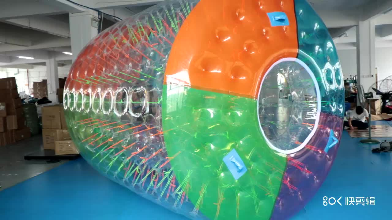 Factory 2.4 x 2.2 x 1.6m 0.7mm TPU color inflatable water walking roller ball