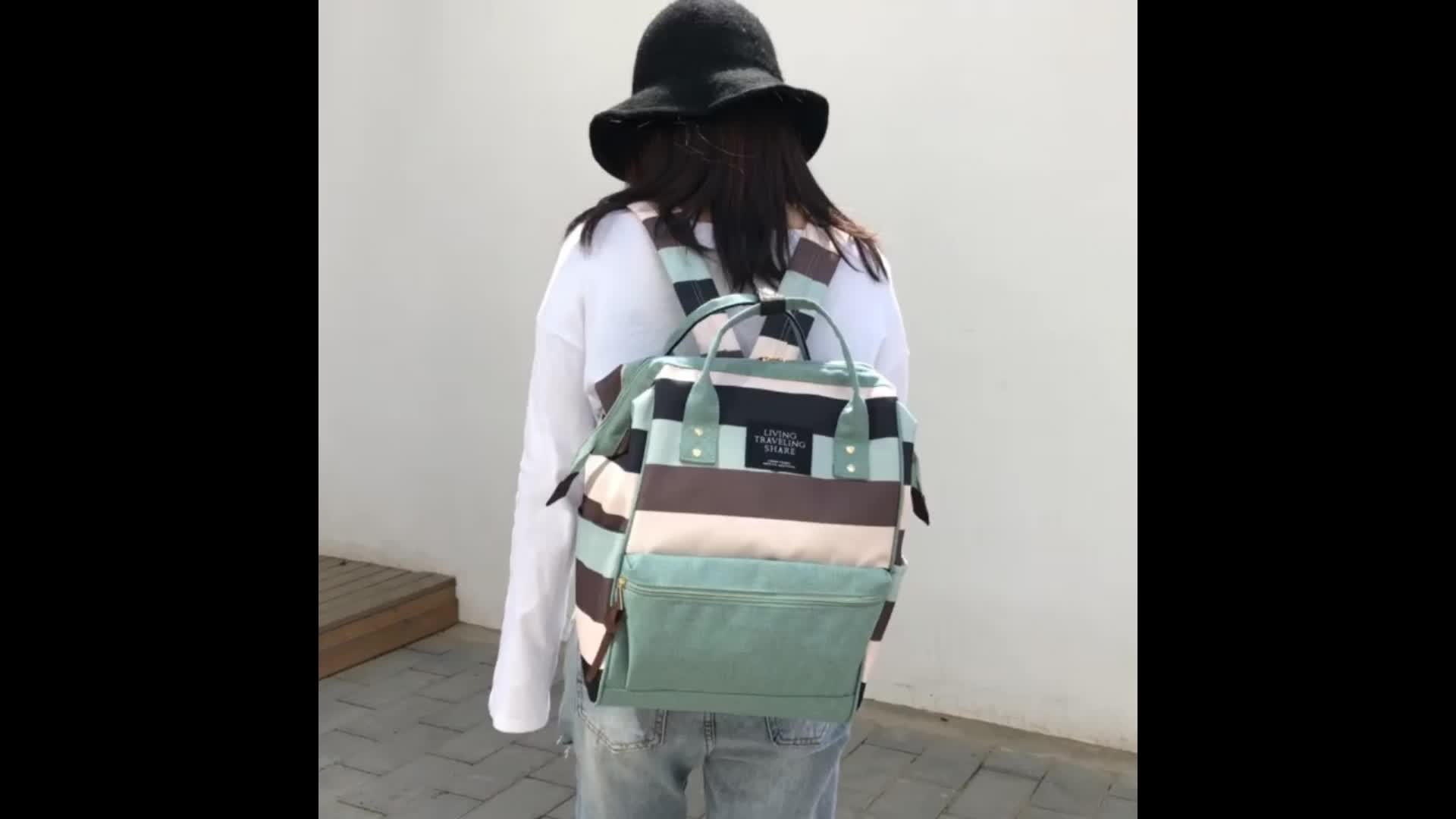New baby mother bag practical nappy backpack fashion striped diaper bag