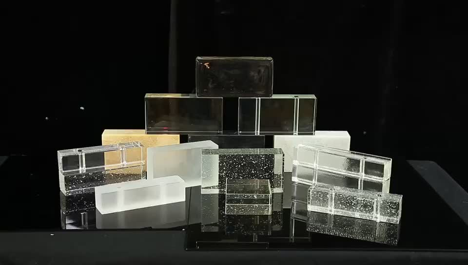 Jingyage polished bubble clear solid glass bricks crystal block for bathroom