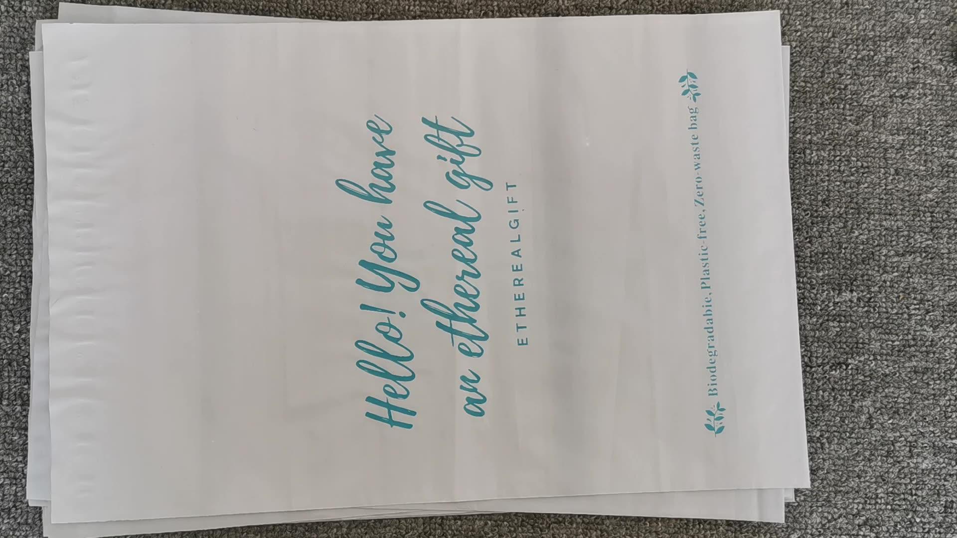 תירס עמילן משלוח תיק מותאם אישית מודפס פוליאתילן Coex פולי פלסטיק דיוור שליח תיק עם כיס