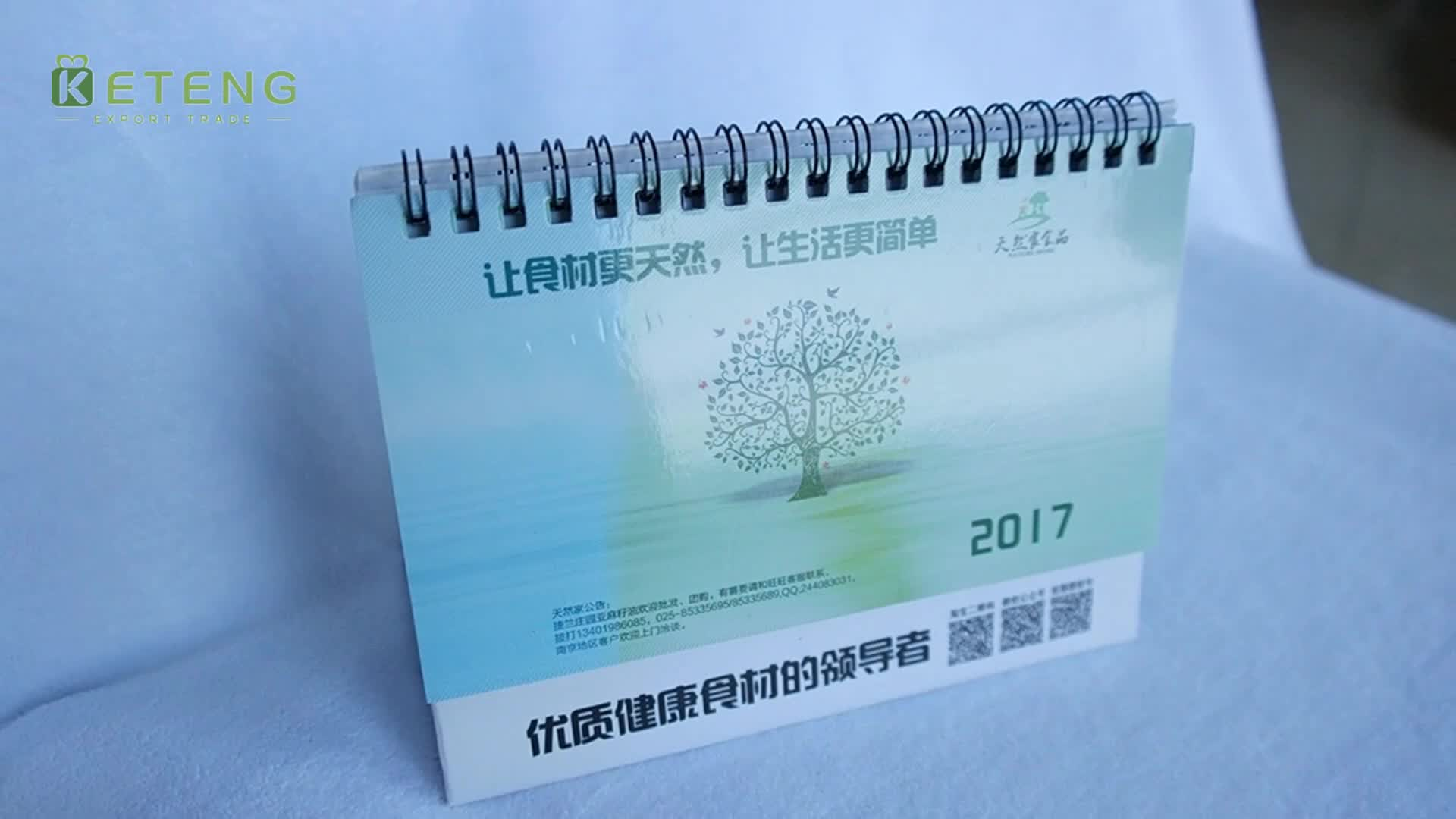Wholesale creative spiral-bound  standing 12 monthly  desk calendar printing