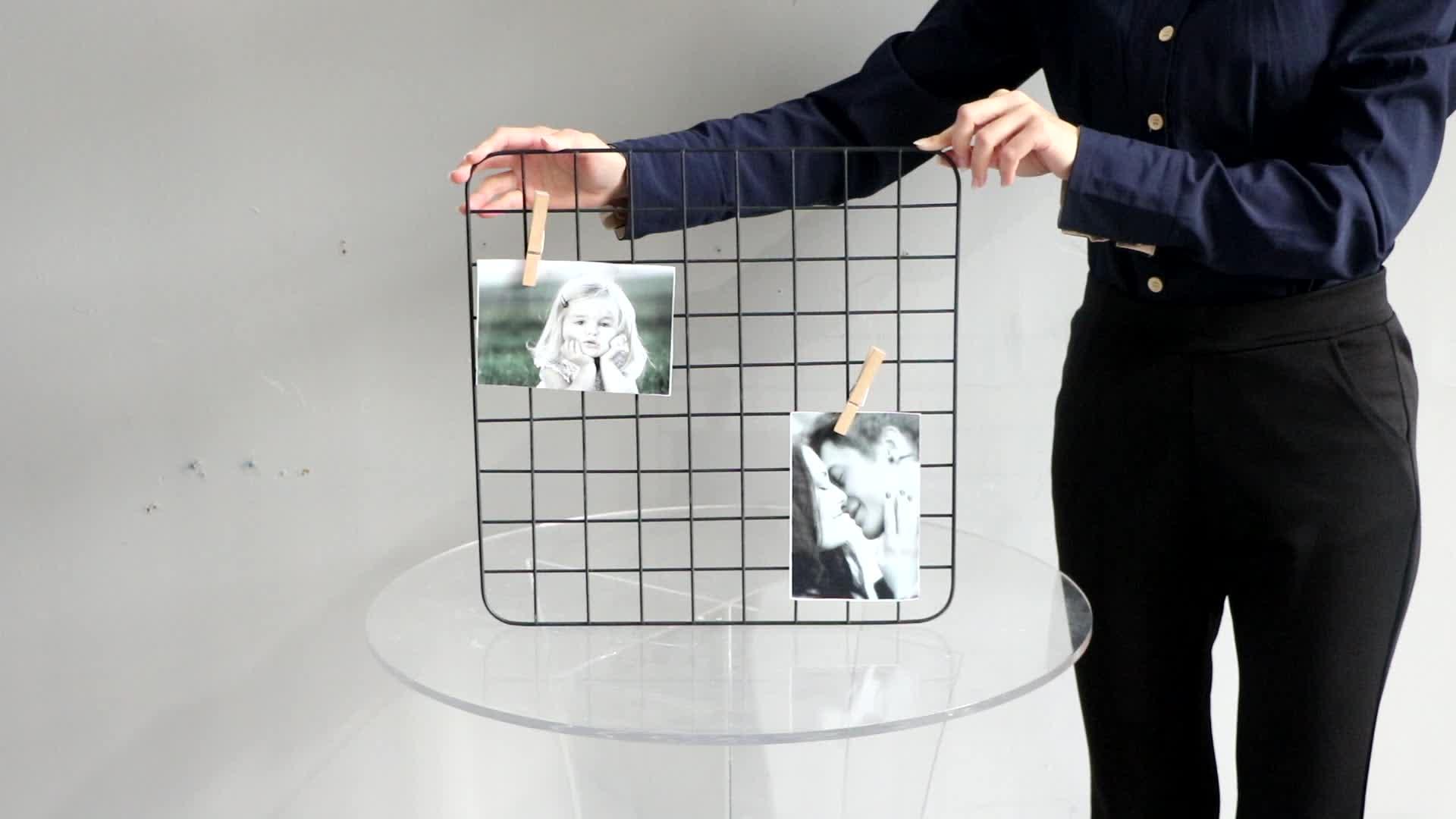 Moderne benutzerdefinierte einfache quadratische eisen metall mesh grid hause dekorative wand hängen schwarze bild foto rahmen