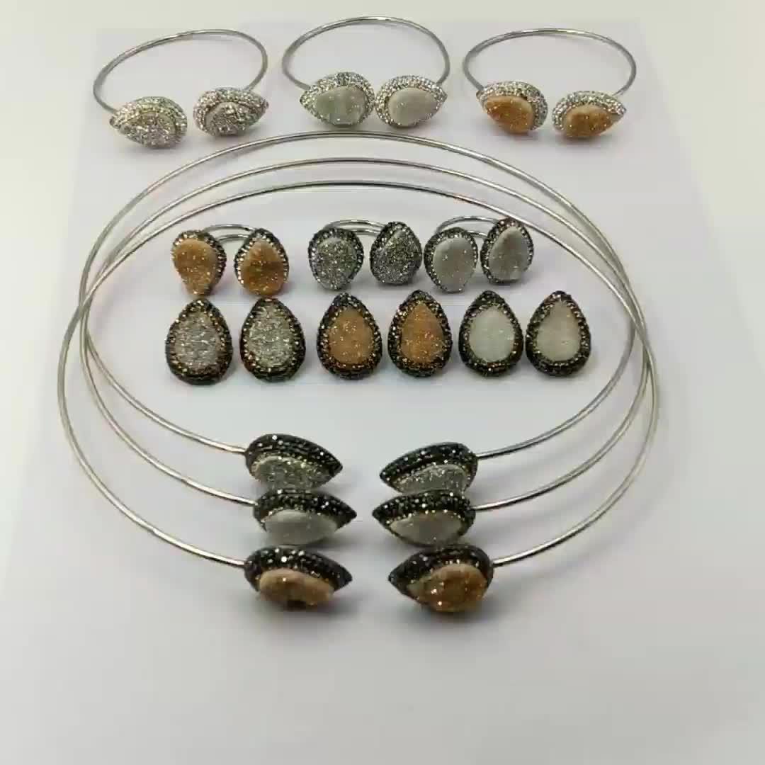 Wholesale Fashion New Style Custom Natural Collar Jewelry Korea Female Vintage Druzy Gemstone Big Choker Necklace