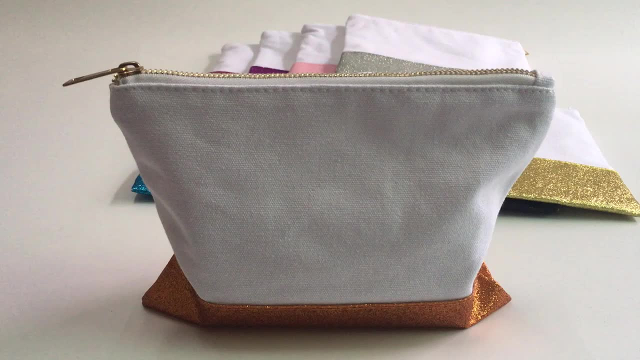 Wholesale canvas glitter makeup bag makeup bag cosmetic canvas cotton pouch with different glitter bottom & gold zipper