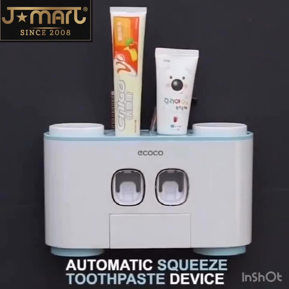 2019 Auto Bathroom Wall Mount Automatic Ecoco Squeezing Toothpaste Dispenser with 5pcs Toothbrush Holder for the Disabled