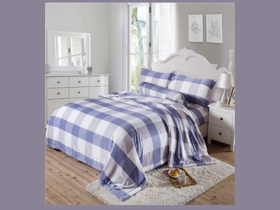 Top Quality Modal Check Bed Fitted Comforter Set Bedding Set 4Pcs For Kids