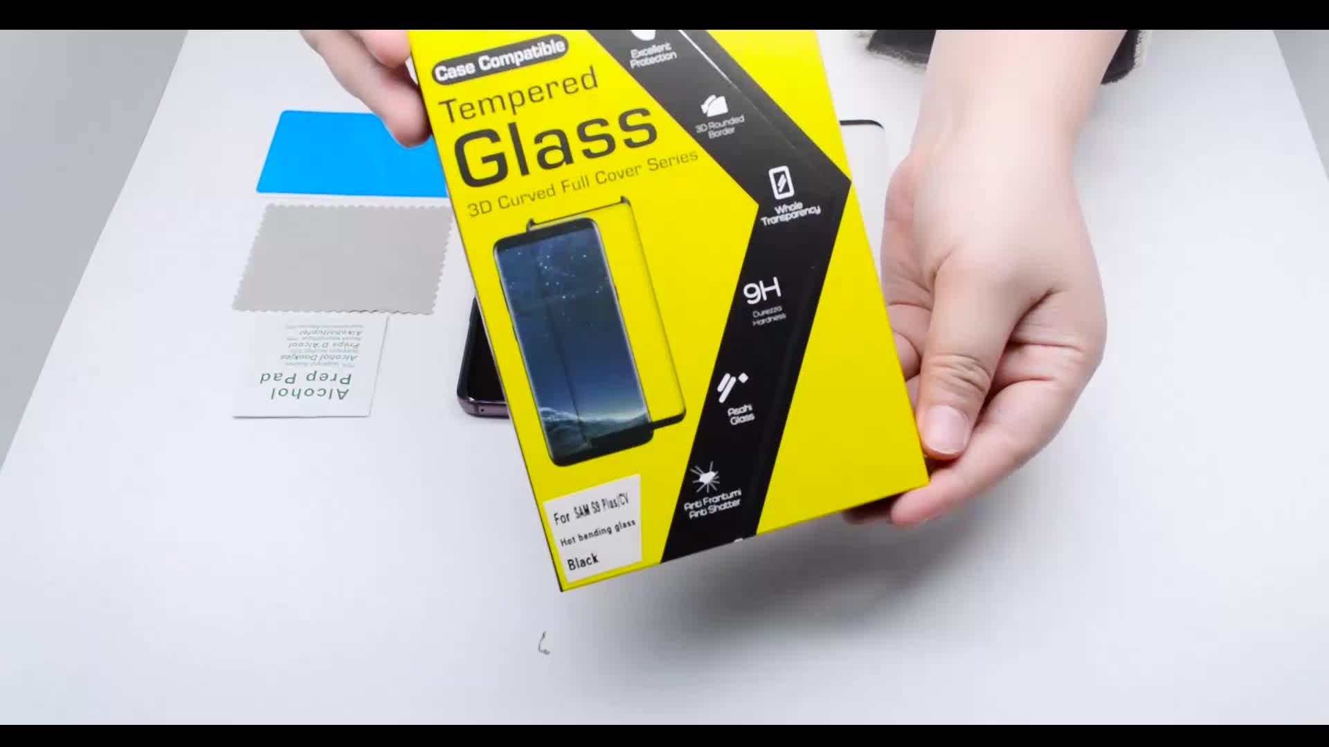 Caso amigável 3D Curvo vidro temperado protetor de tela para samsung s9 s9 mais
