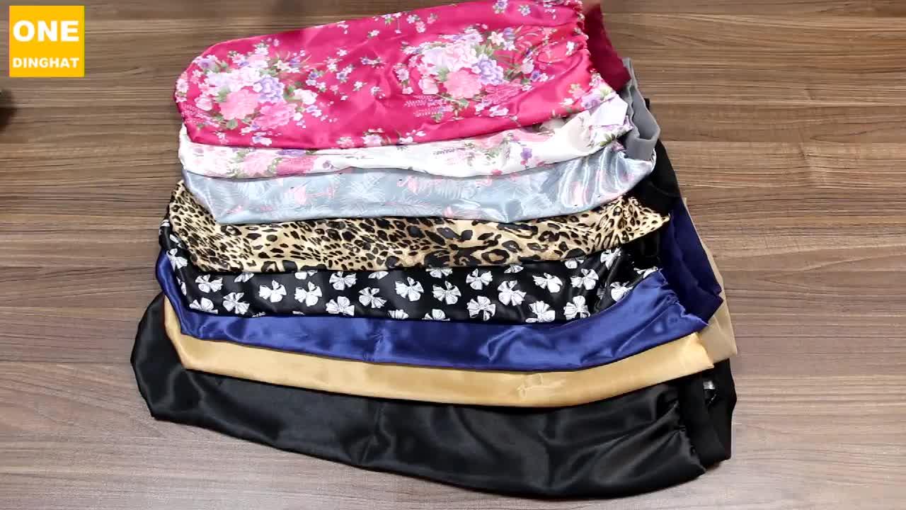 Yeni moda uzun saç saten Bonnet uyku kap yüksek elastik saç bandı gece kap saç bakımı ipek kaput kadınlar için