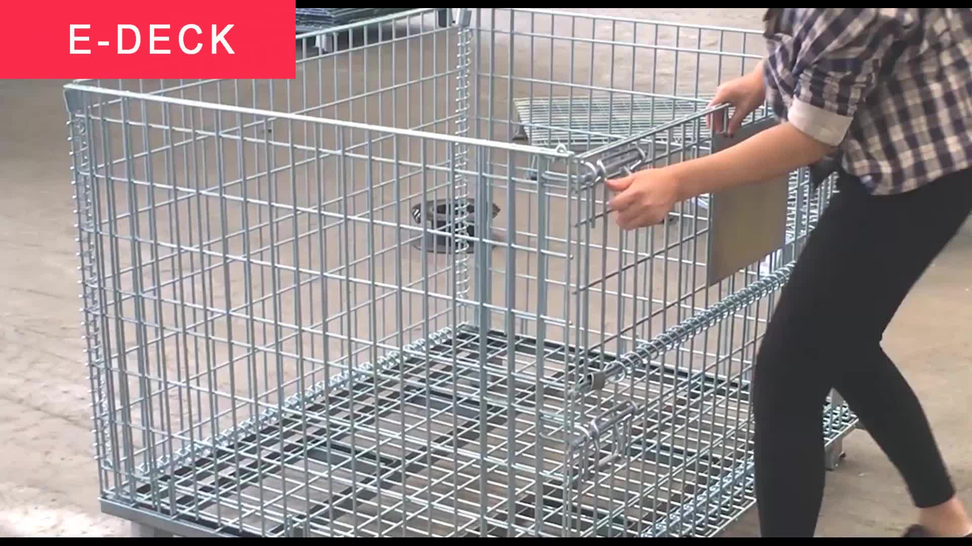 Foldable Rigid Galvanized Stackable Warehouse Collapsible Storage Cargo Rigid Metal Cage Wire Mesh Container