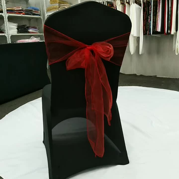 wholesale professional red organza chair sashes for wedding decoration chair bow