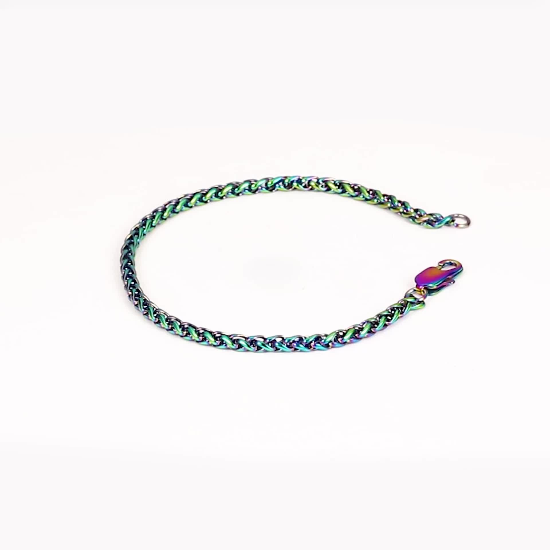 High Polish Lock Schnalle 316L Edelstahl Regenbogen Cuban Link Kette armband für Männer