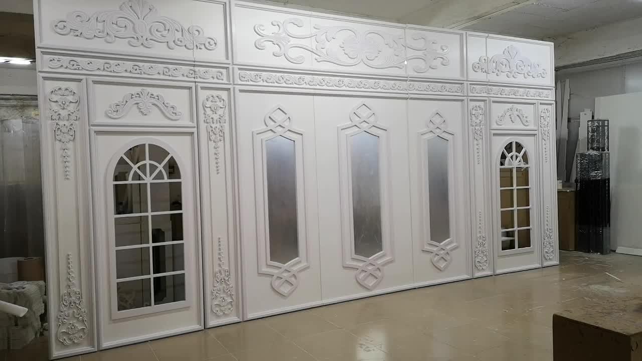 France Style Luxury 3D Cutting White Wall Wedding Backdrop Supplies