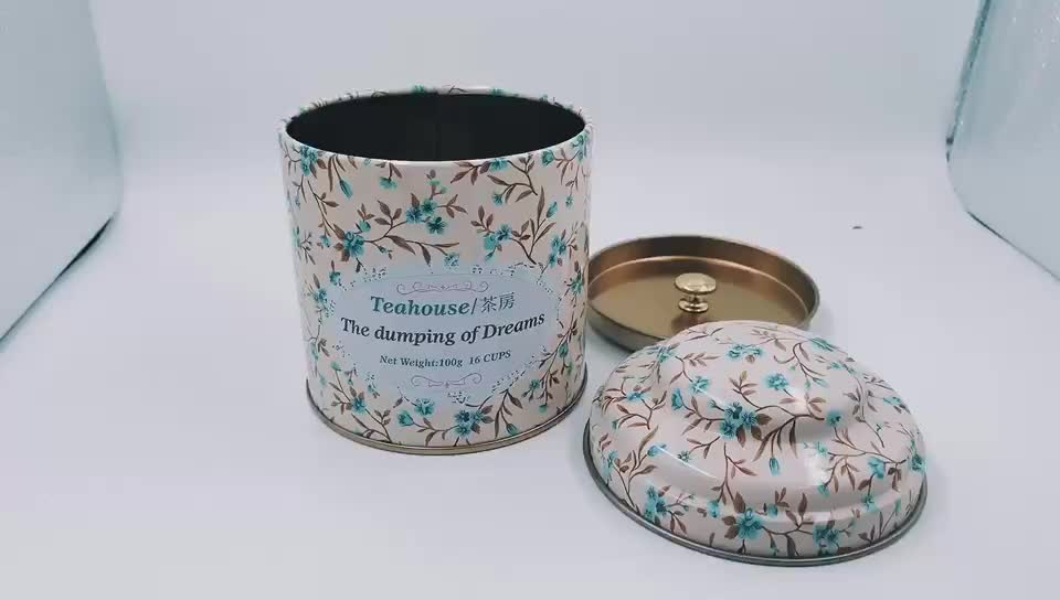 Small Custom Round Metal Double Lid Chinese Green Tea Tin Box and Can for Tea