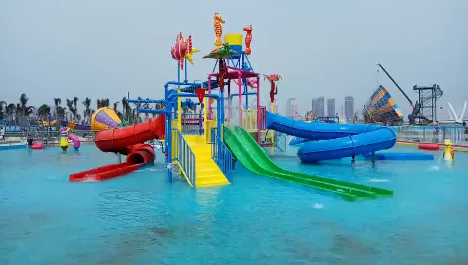 water playground water park slides equipment with spray toys for family kids and adult