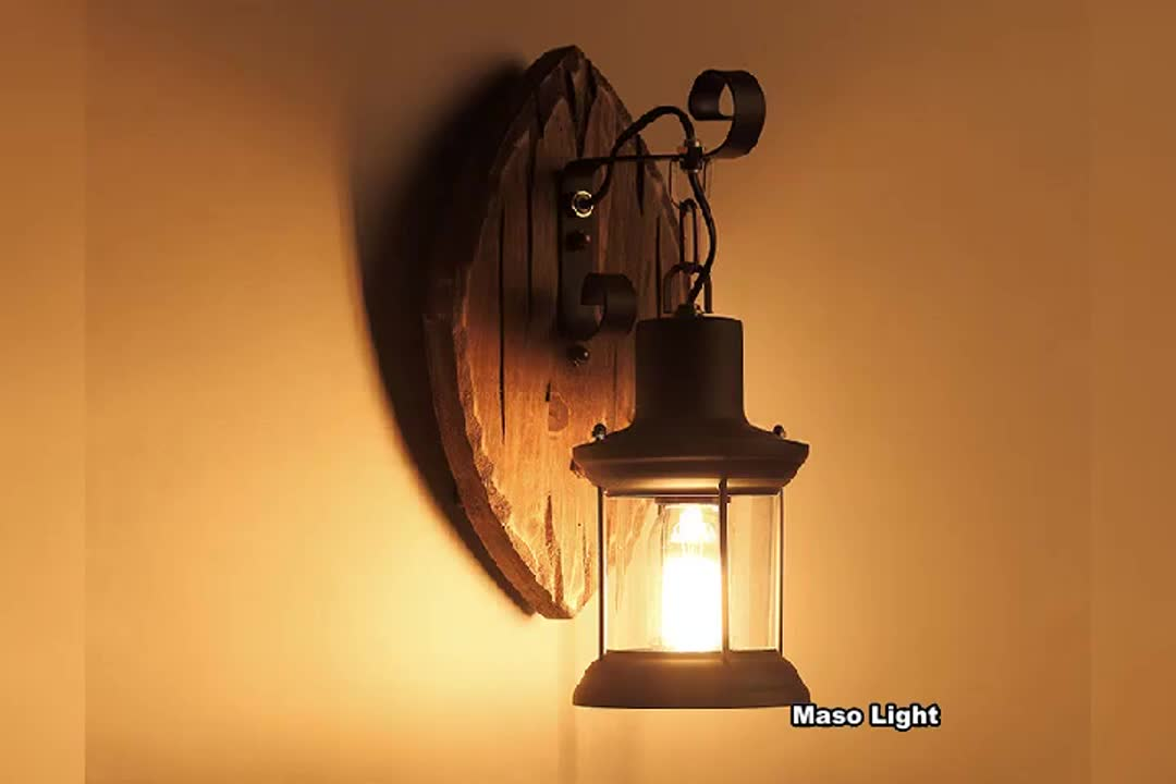 Fashion indoor wall lamp post decorations foot print wooden wall light