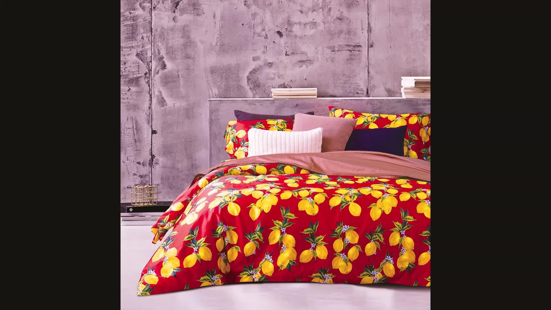 100% cotton In thiết kế 300TC duvet cover và sheet Bộ Đồ Giường thiết lập