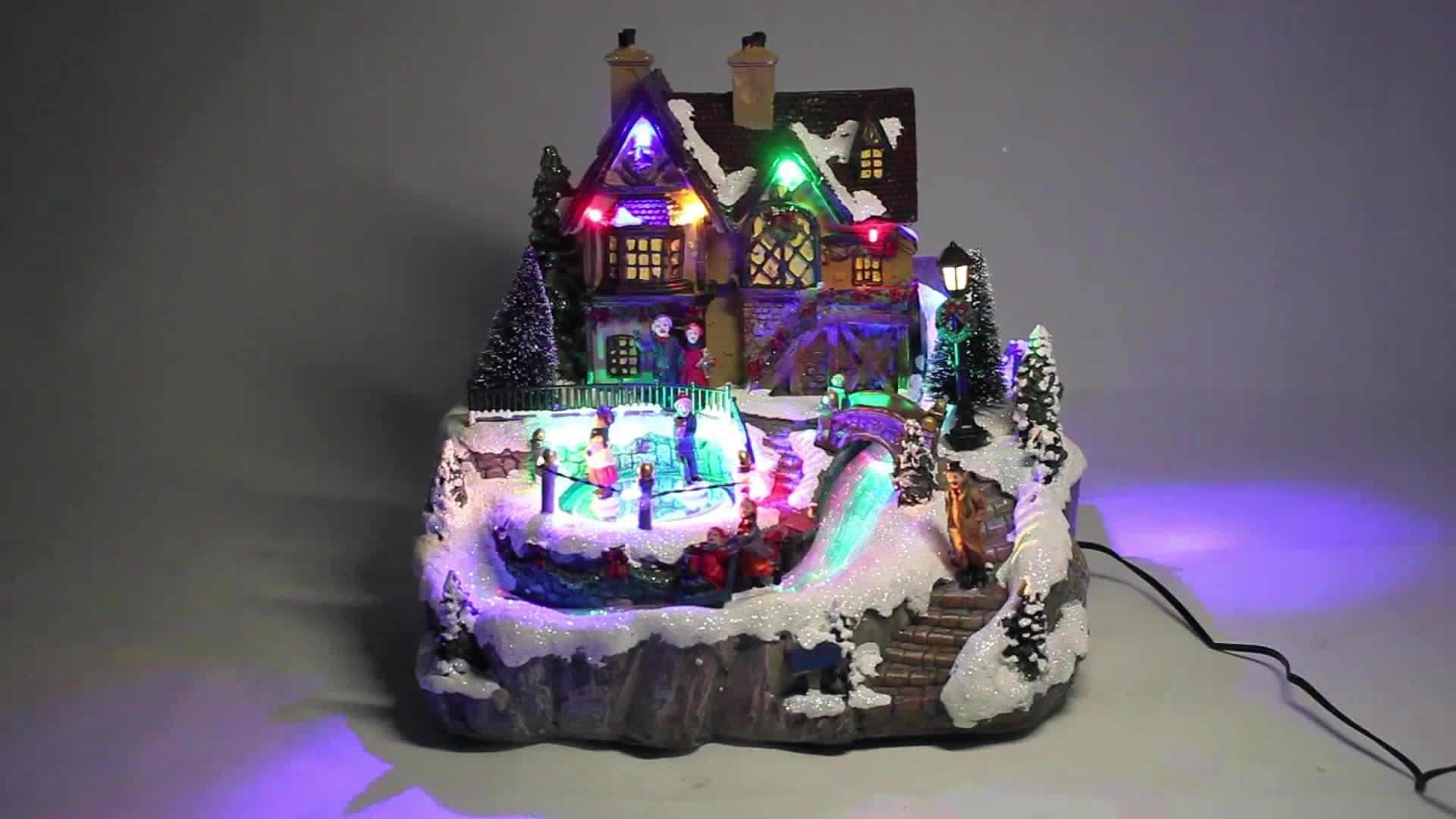 Custom Noel Polyresin led de musical decor people fiber optic ILLUMINATED Magic Christmas village houses with Adaptors