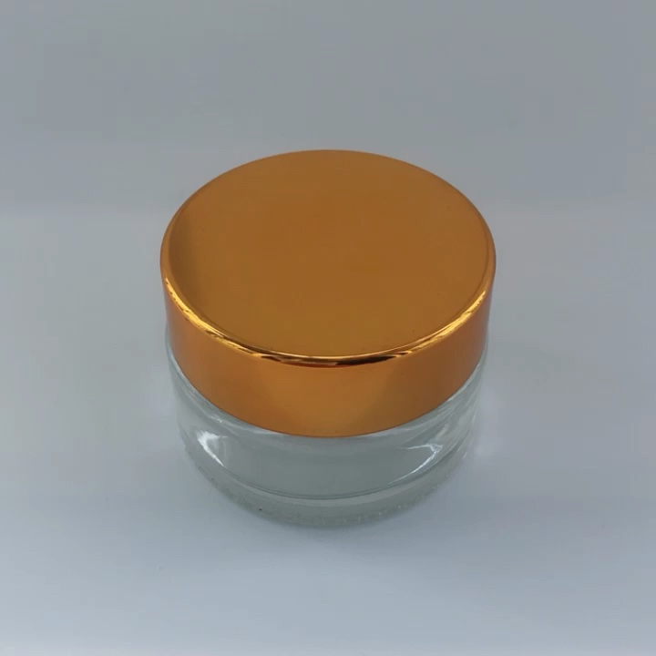Wholesale 20ml Clear Small Glass Cosmetic Jars Eye Cream Clear Glass Jars Round Glass Jars with Aluminum Lid