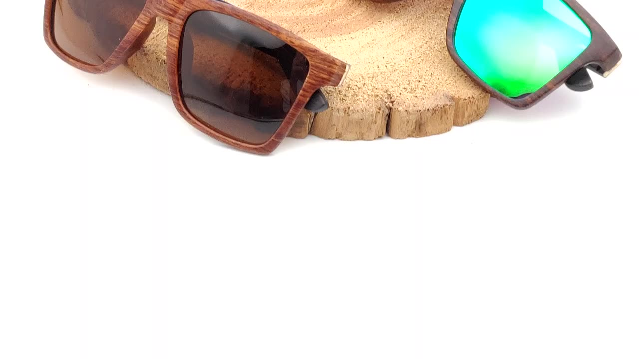 High grade shade sun glasses beach plastic frame with wood polarized sunglasses for men