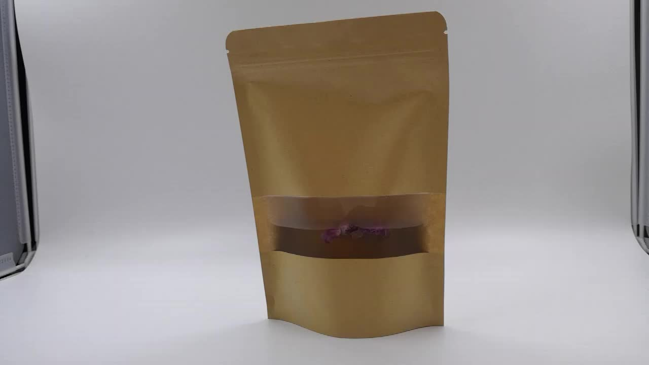 Wholesale Stock Stand up Packaging Bag for Dried Fruit/Candy/Snack Food/ Coffee Tea Bags Kraft Paper Bag with Clear Window
