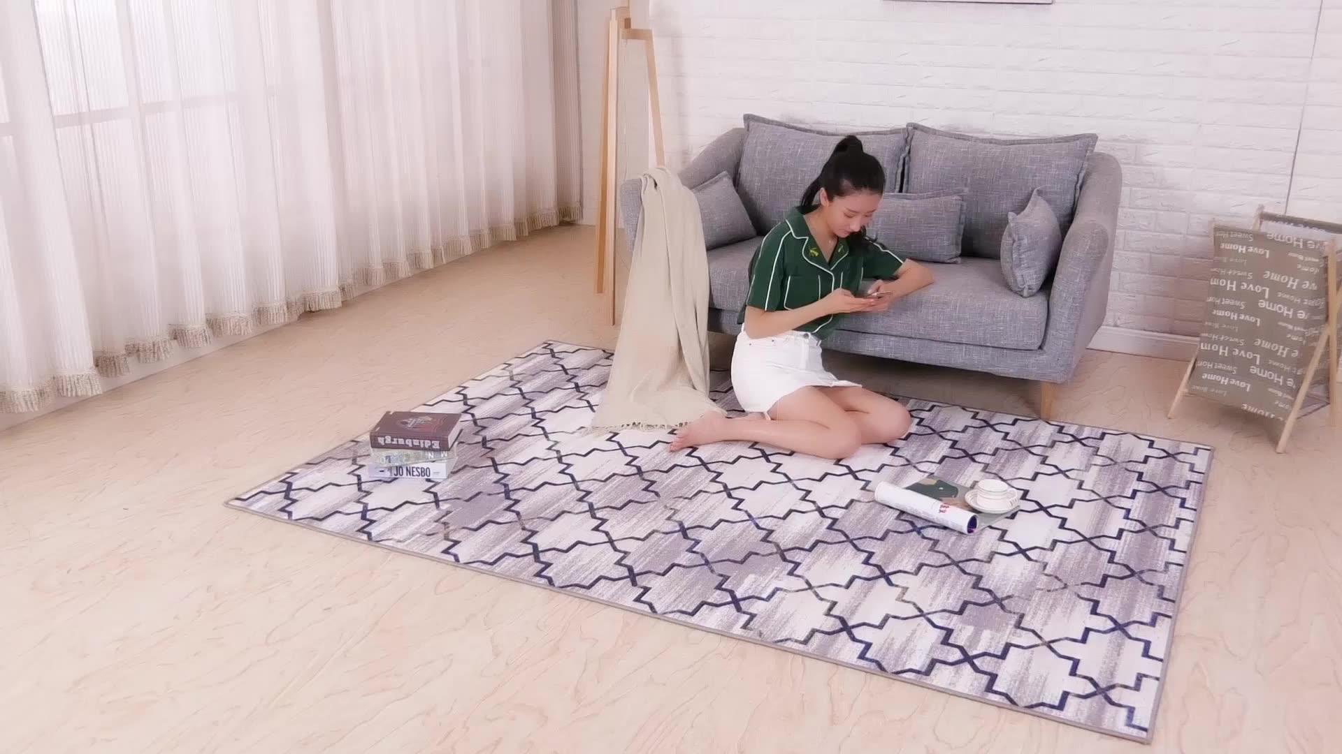 Cetak Motif Bunga Kustom Karpet Lantai Ruang Tamu Karpet Area Pada Garis Tapis Salon Alfombra De Sala Karpet Modern Pabrik Tianjin
