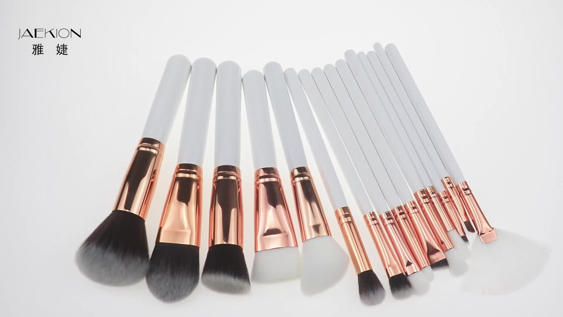 Großhandel Professionelle 15 stücke Neue Weiß Make-Up Schönheit Kosmetische Make-up Pinsel Kit Weiche Synthetische Haar Tragbare Make-Up Pinsel Set