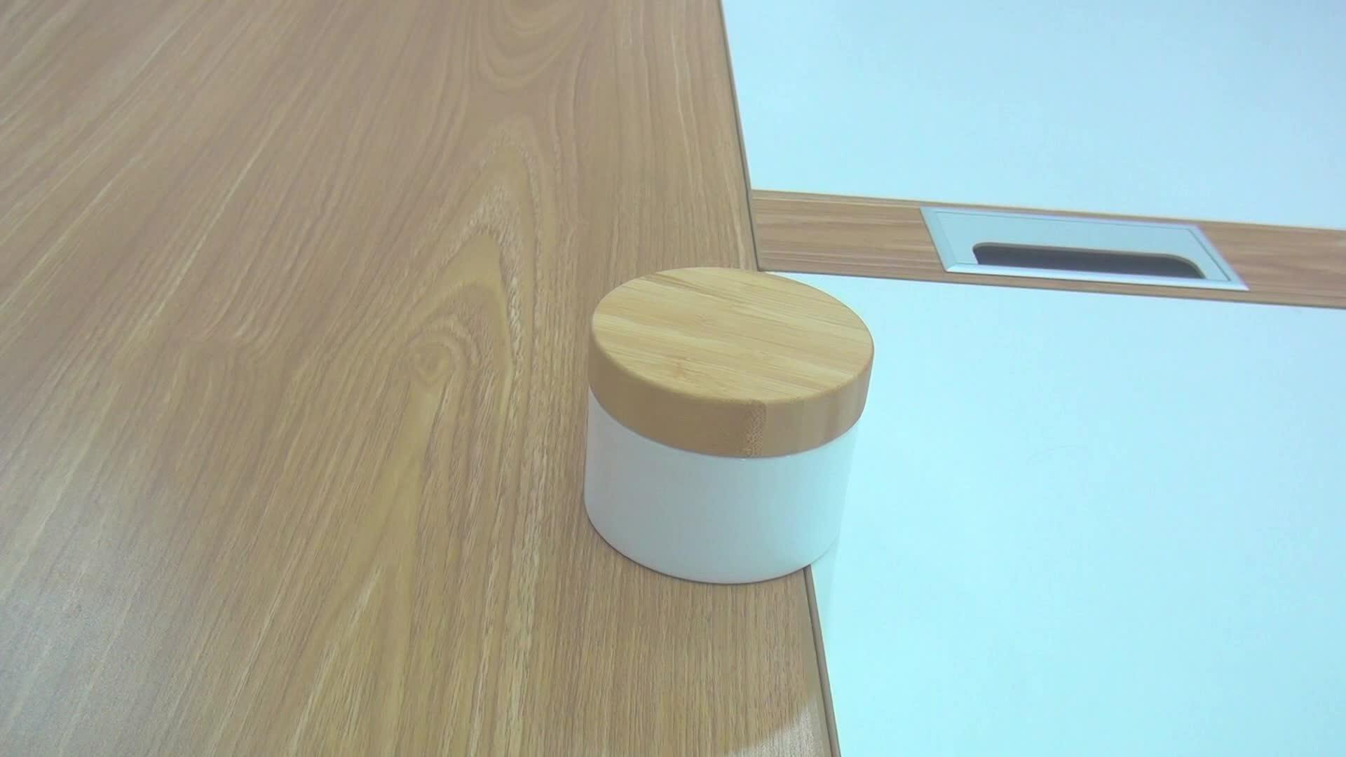 Contenitore cosmetico 1 oz 2 oz 30 ml 50 ml 60 ml 100 ml pp vaso crema di plastica con il legno coperchio di bambù