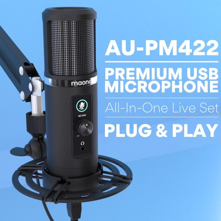 MAONO Condenser Microphone PC Studio Mic  with Touch Mute Button Microfone
