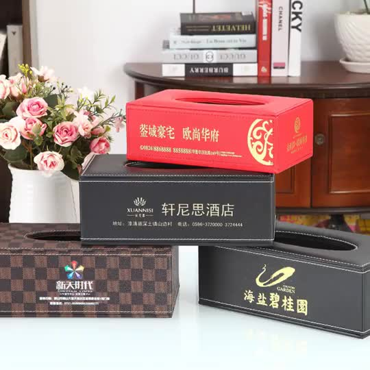 customized wholesale high end fashion black travel rectangular leather tissue box for hotel   car