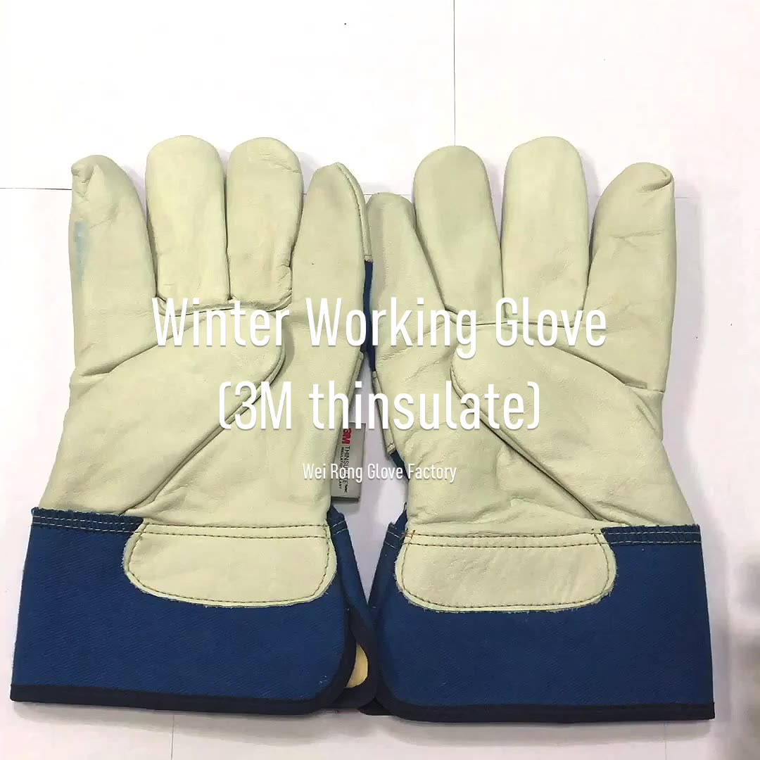 High end winter anti cut cowhide leather safety work protective glove