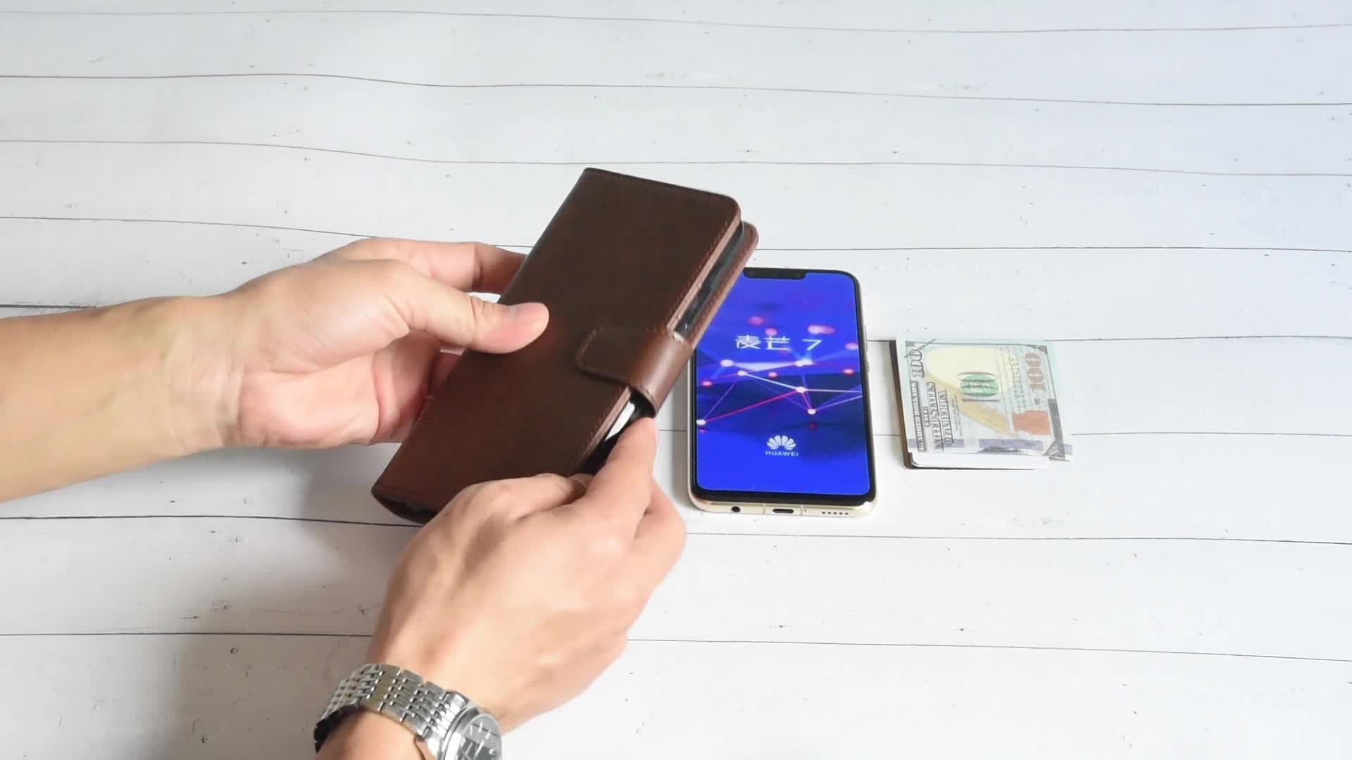 Factory OEM Flip Leather Wallet Phone Case for Huawei Mate 20 X