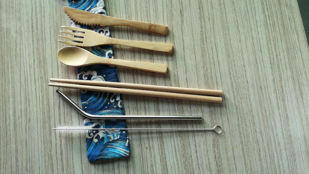 De bambú comedor utensilio conjunto cuchillo/tenedor/cuchara de viajes cubiertos con bolso de