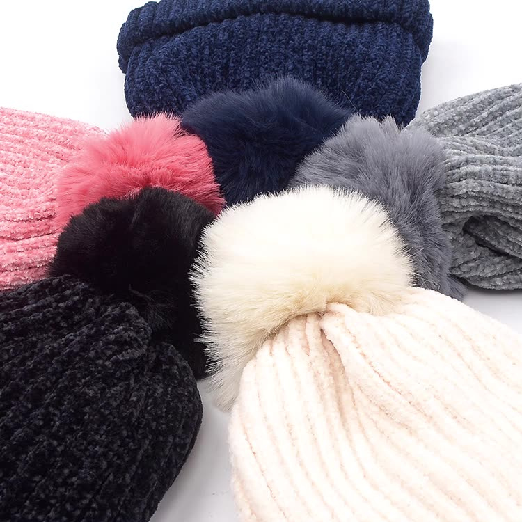 Winter fashion mixed colors knitted wool acrylic custom women beanie hat