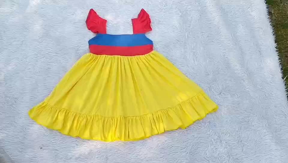 Satu Tahun Gadis Gaun Ulang Tahun Pribadi Hadiah Gaun Kuning Bunga Gadis Gaun Balita Pertama