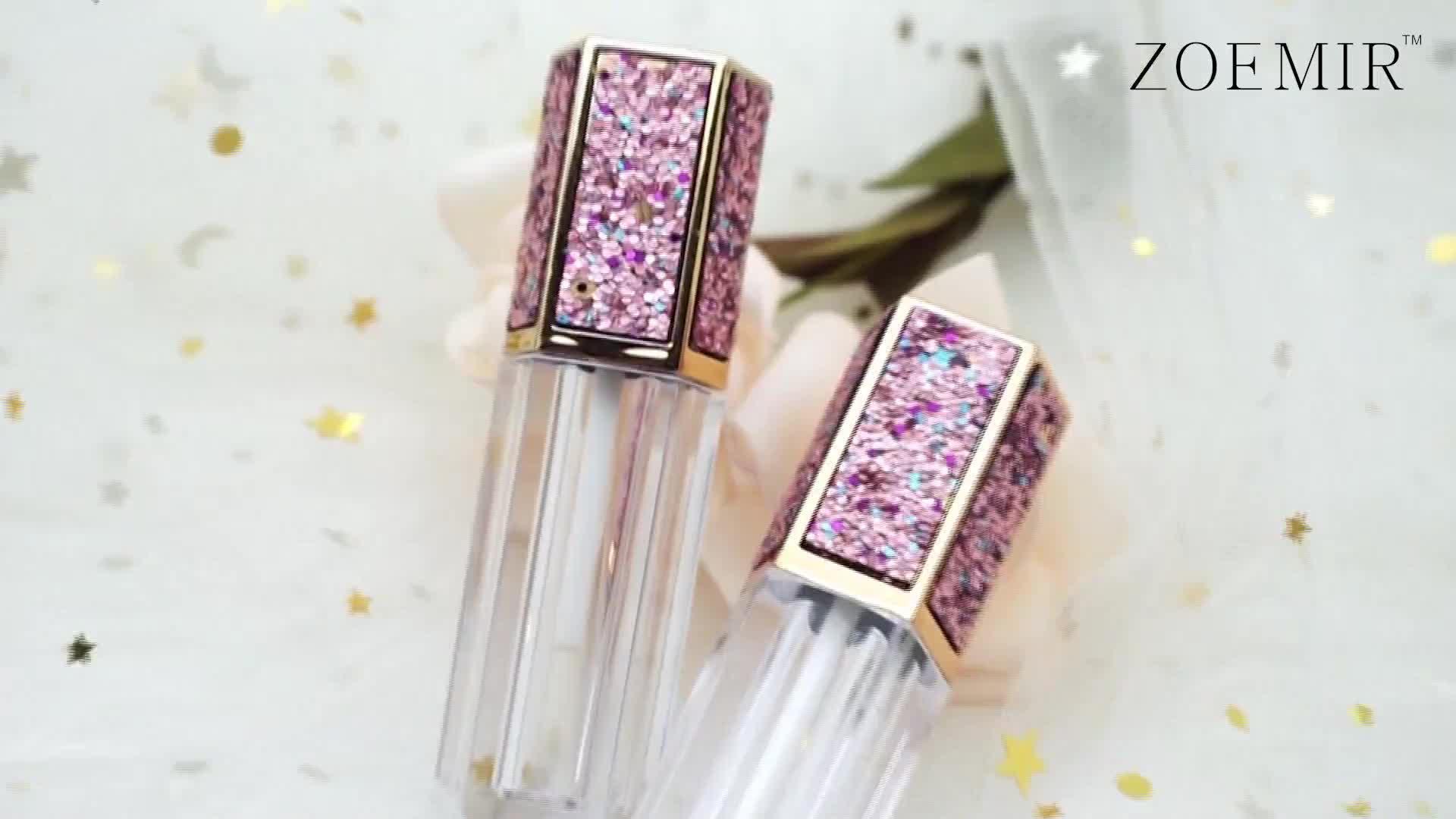 고품질 화장품 립글로스 포장 상자 핑크 블링 플라스틱 지우기 개인 라벨 립스틱 튜브 립글로스 튜브