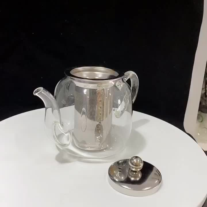 Pyrex glass infusion teapot set/transparent and light glass teapot with stainless infuser