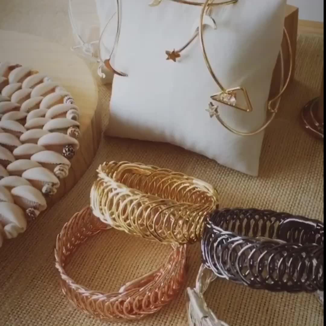 9 Kinds Star Moon Chain Geometric Design Brass Wrapped Women Men Handmade Cuff Bracelet