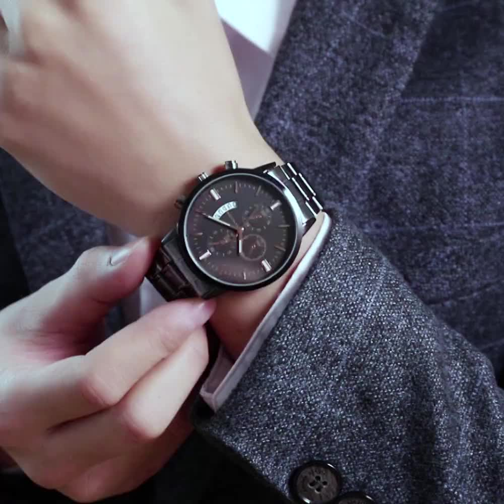 Men's 3atm water resistant quartz watches stainless steel watch band Business wristwatch